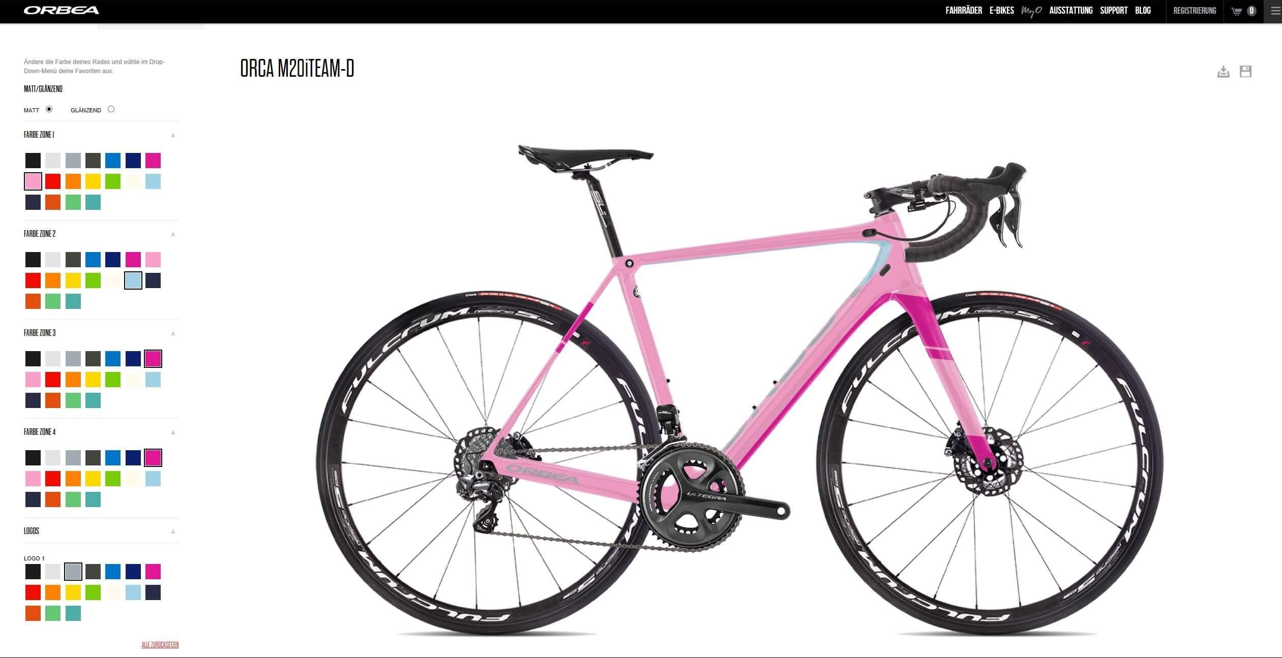 Orbea MyO - von Pink bis Blau stehen insgesamt jeweils 18 Farbfelder zur Verfügung